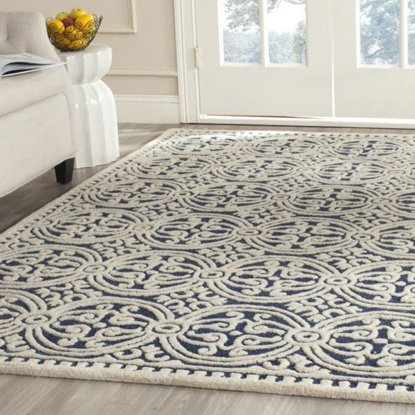 Safavieh Handmade Moroccan Cambridge Navy Blue Wool Rug 2 Ft 6 In X 4 Size