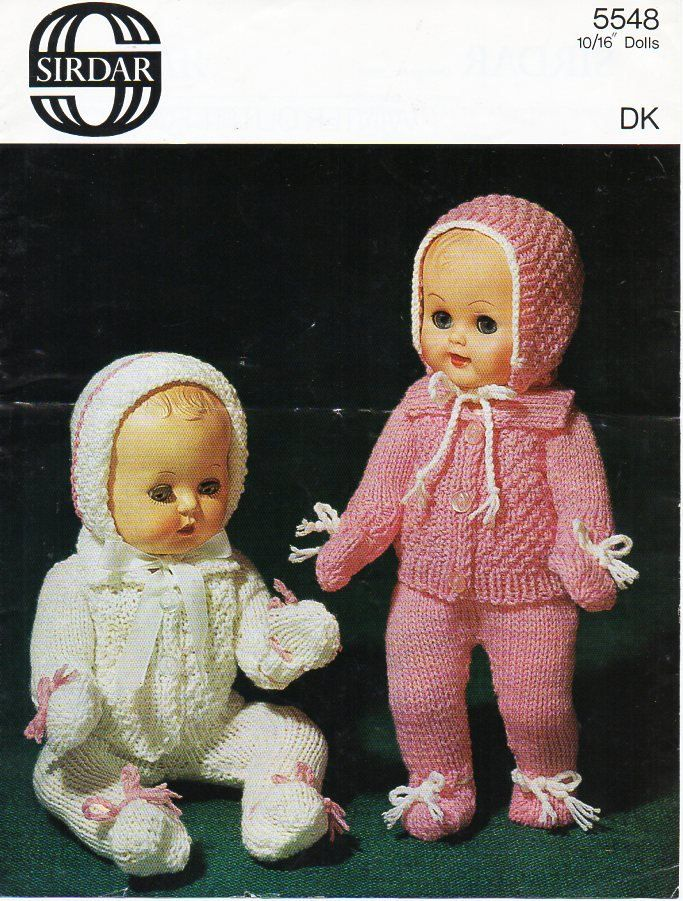 Baby Dolls Clothes Knitting Pattern PDF Dolls pram set coat leggings bonnet…