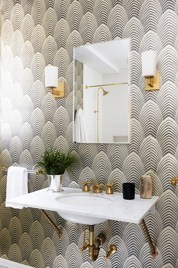 Patterned walls for the powder room can