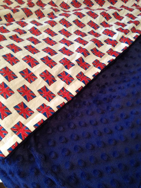 Brit Baby - Large Minky Baby Blanket - Newborn, Infant &Toddler - Custom Made union Jack, London, Toy Soldier, England English UK Taxi Bus