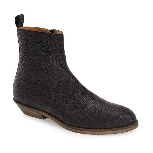 """MM6 Maison Margiela Bootie, 1"""" heel (€610) ❤ liked on Polyvore featuring shoes, boots, ankle booties, ankle boots, black stamped leather, black booties, black leather booties, black ankle boots, short black boots and black bootie"""