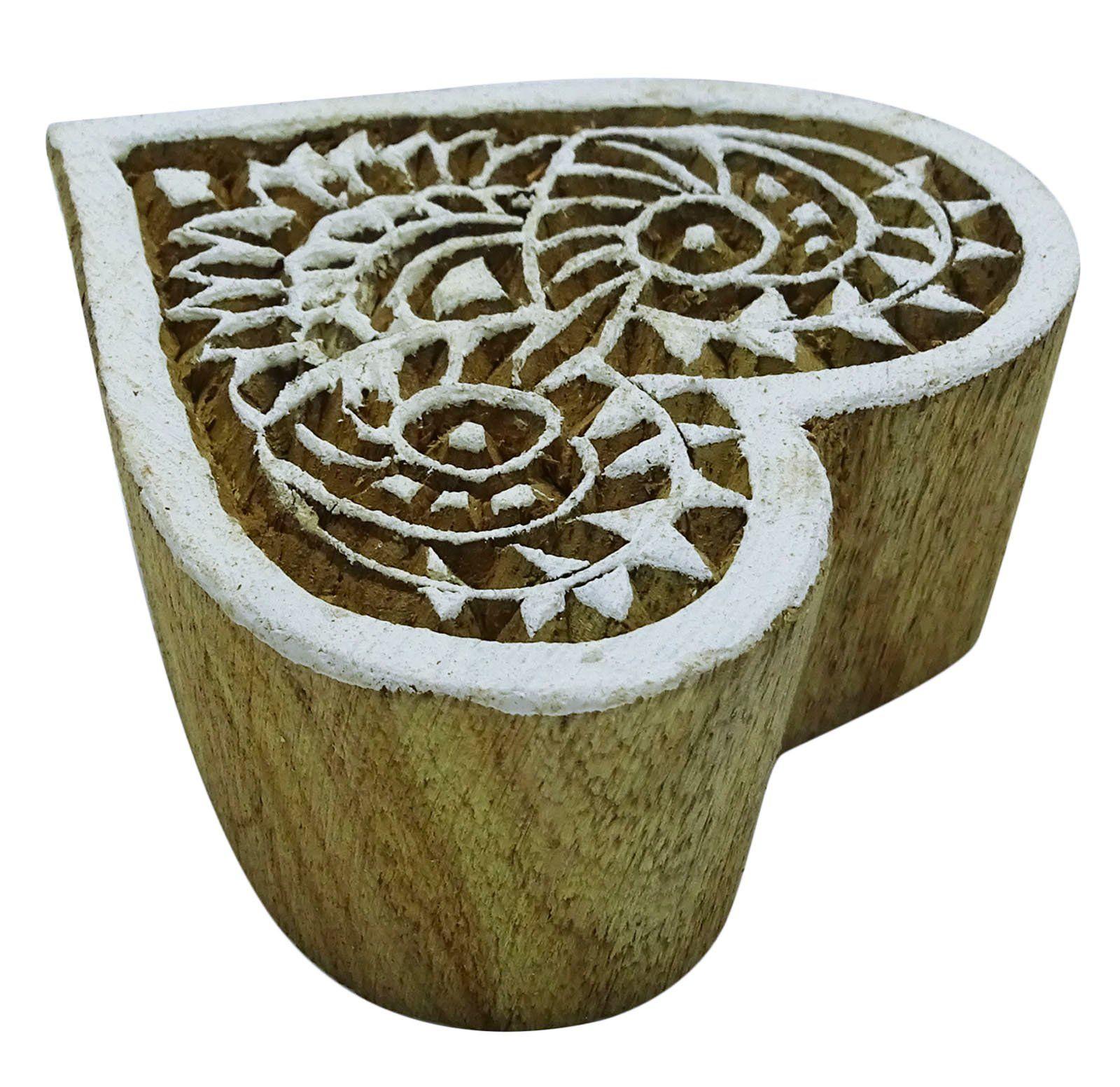 Hand carved Brown Printing Block Wooden Textile Stamp Floral Stamp Block print