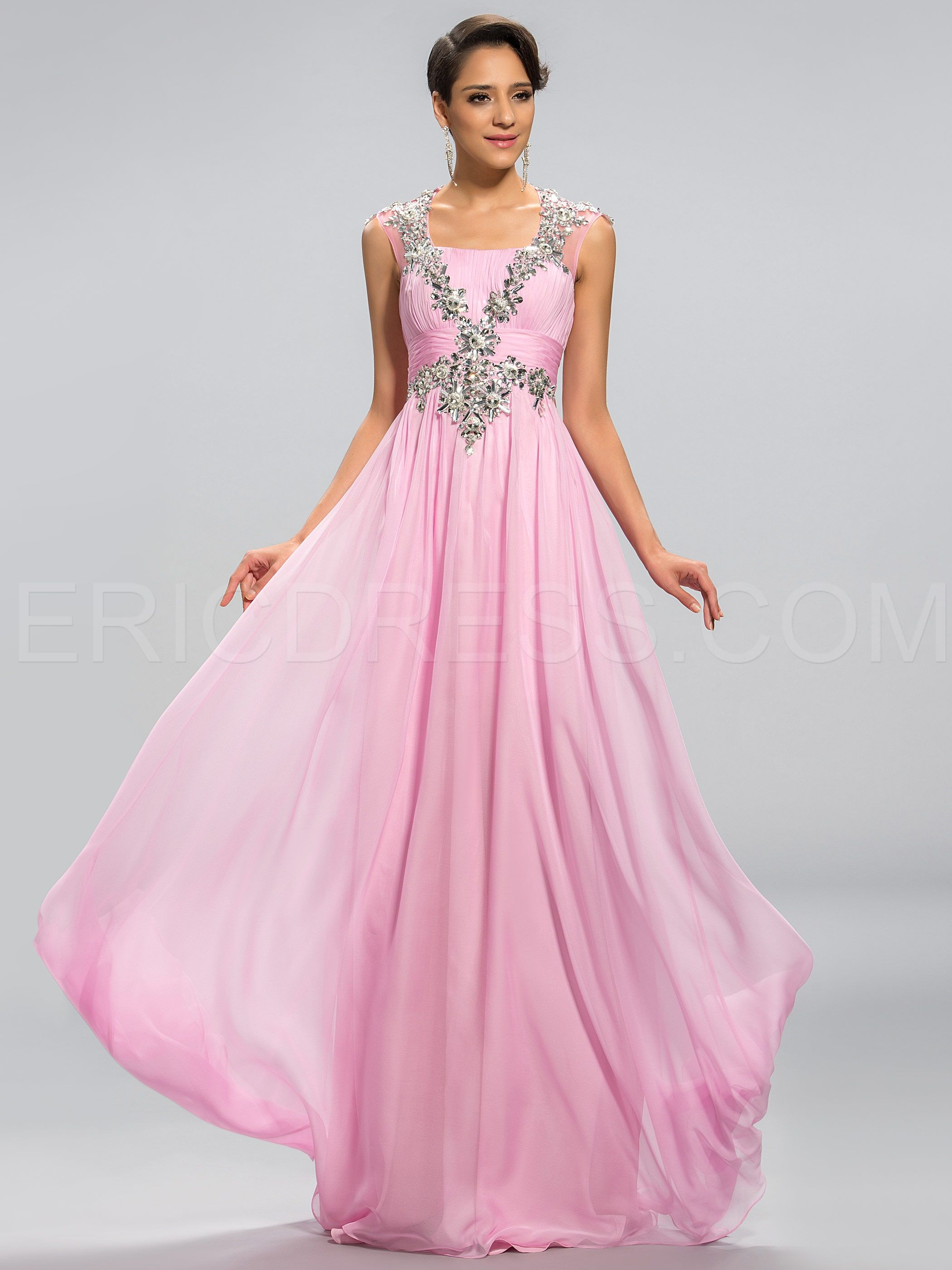 Pretty A-Line Square Neck Beading Hollow-Out Back Prom Dress | Prom ...