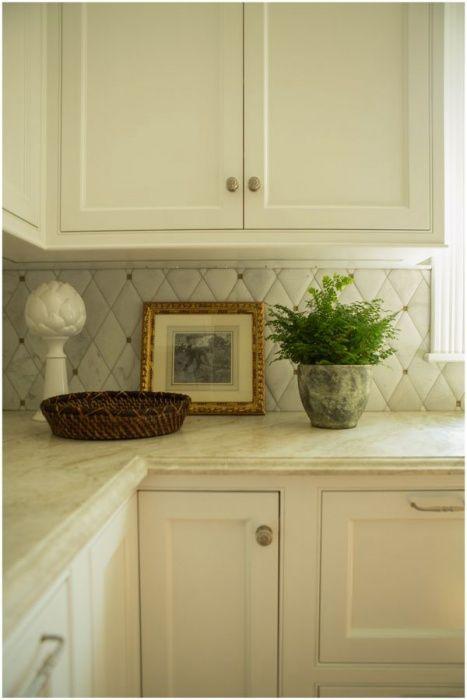 Coastal Seaside Home Kitchen Interior Design Stone Counter Custom Cabinets Marble Backsplash