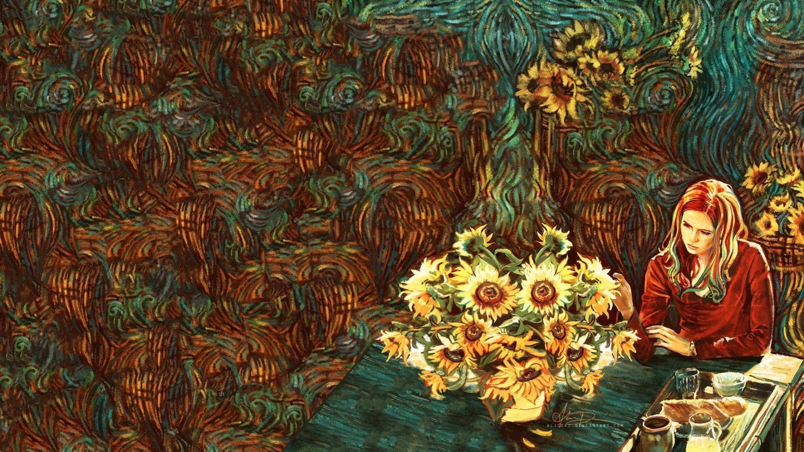 Vincent Van Gogh Karen Gillan Amy Pond Doctor Who Sunflowers 1920x1080 Wallpaper Art Hd Wallpaper 256 Van Gogh Wallpaper Doctor Who Wallpaper Artsy Background
