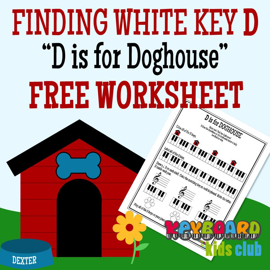 Introducing Piano White Key D to beginners (FREE Worksheet