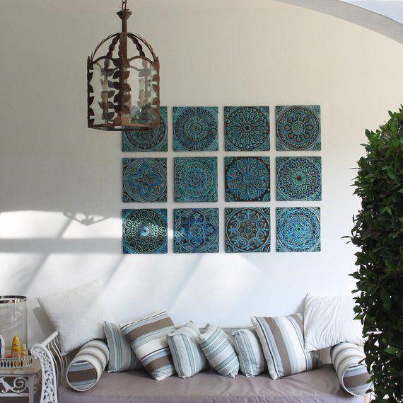 Photo of 6 dekorative Fliesen 30cm für Küchen-oder Badezimmer, Türkisfarbene handbemalte Fliesen, Wand…