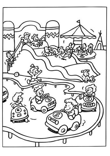 Coloring Page Amusement Park Parque De Diversoes Dia De Acao De Gracas Diversao Infantil