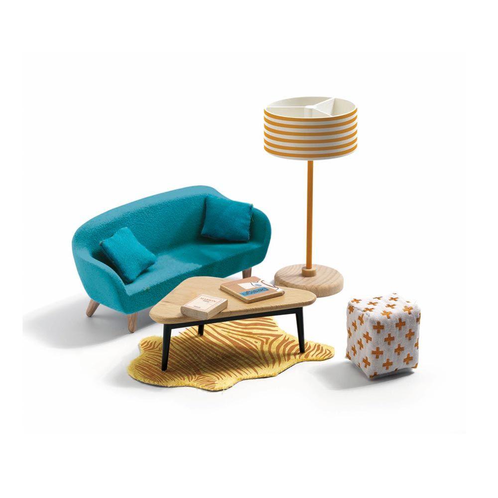 djeco zubeh r puppenhaus blauer salon christmas presents pinterest salons zubeh r und blau. Black Bedroom Furniture Sets. Home Design Ideas