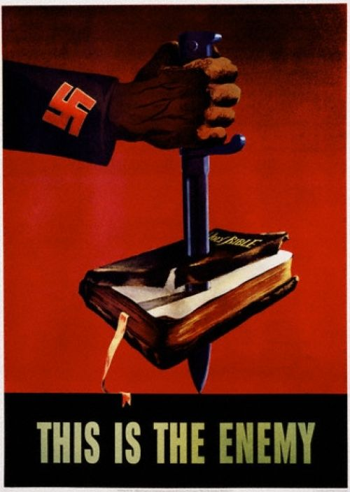 Image result for anti-Nazi poster knife stabbing a Bible