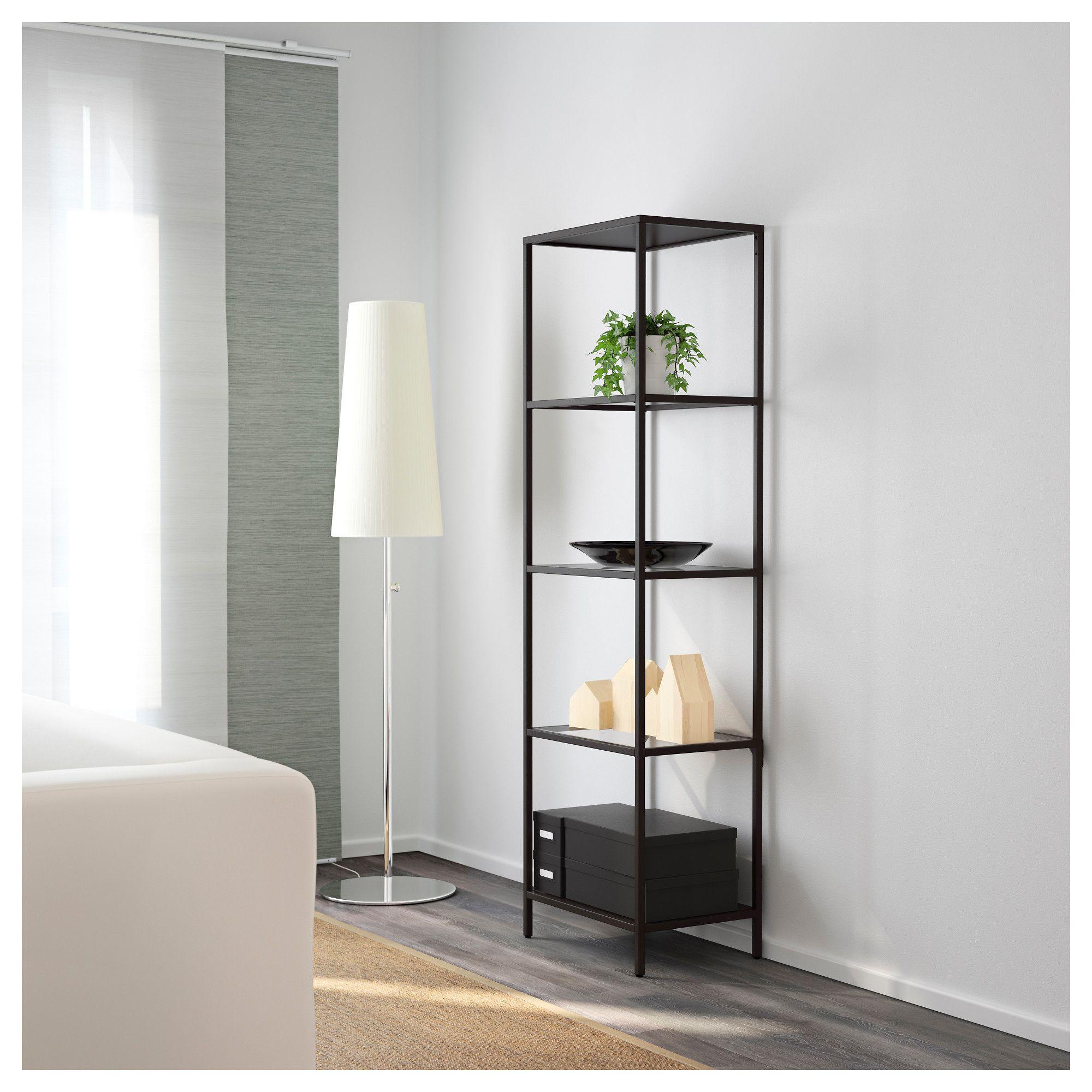 IKEA   VITTSJÖ Shelf Unit Black Brown, Glass
