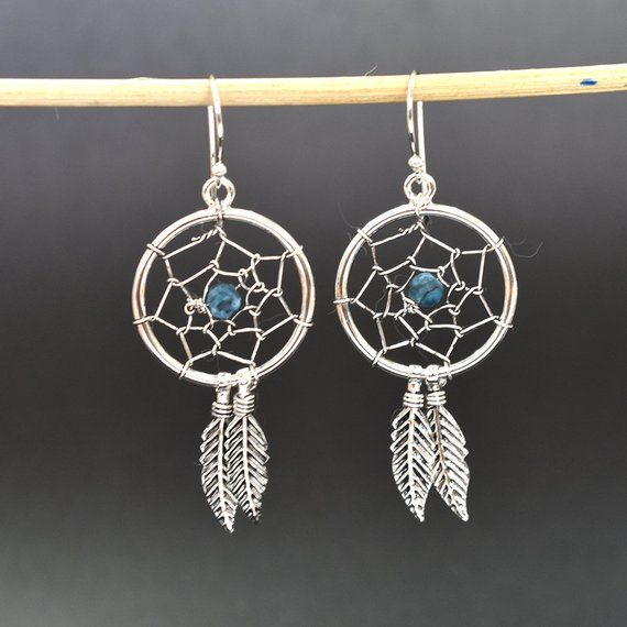 925 Sterling Silver Crystal Circle with Hanging Dream Catcher Stud Earrings