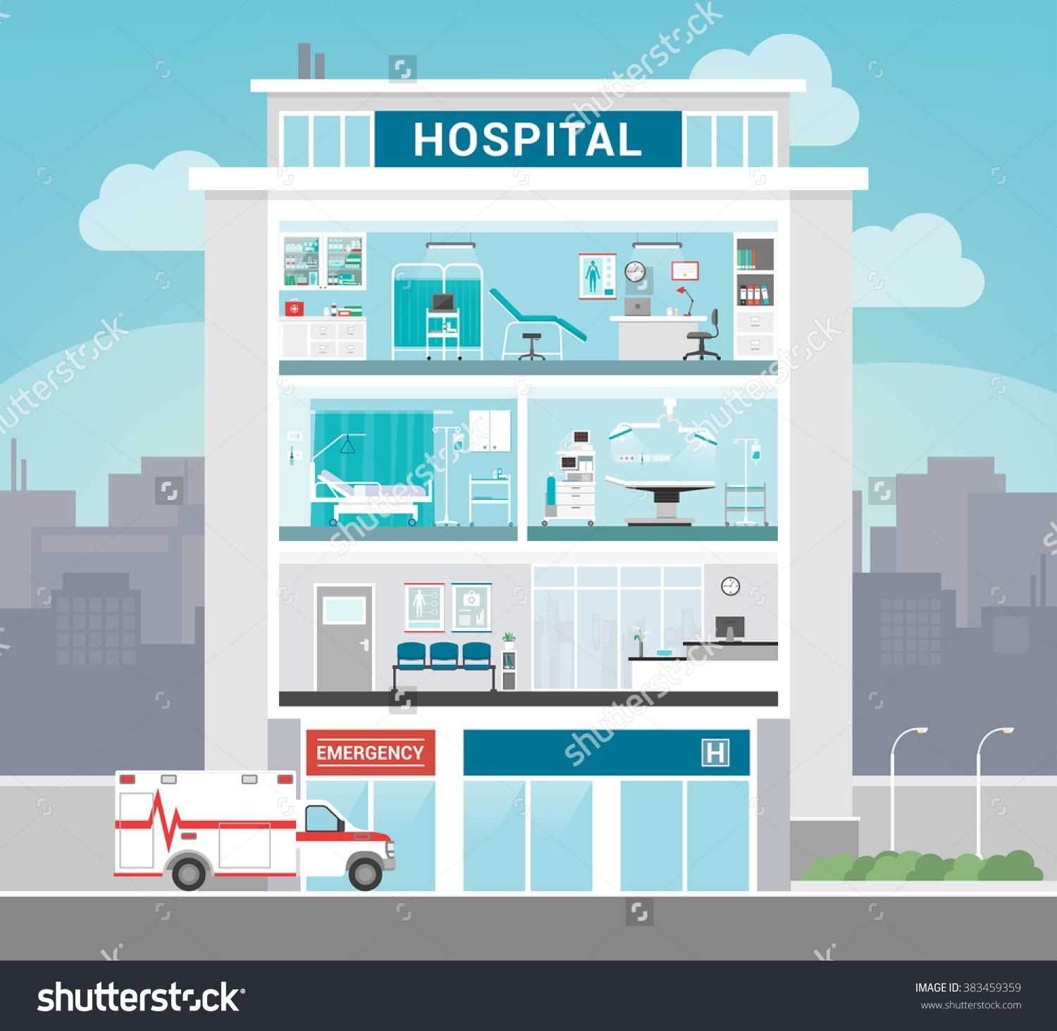Hospital Building With Departments Office Operating Room Ward Waiting And Reception Healthcare Concept Stock Vector Illustration 383459359