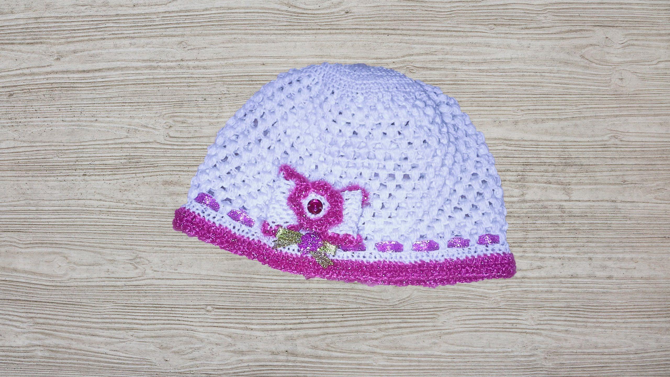 طريقة سهلة لعمل طاقية اطفال (قبعة)   bonnet pour bébé au crochet