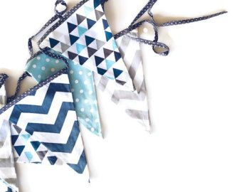 Bunting flags Mint and gray by AlphabetMonkey on Etsy