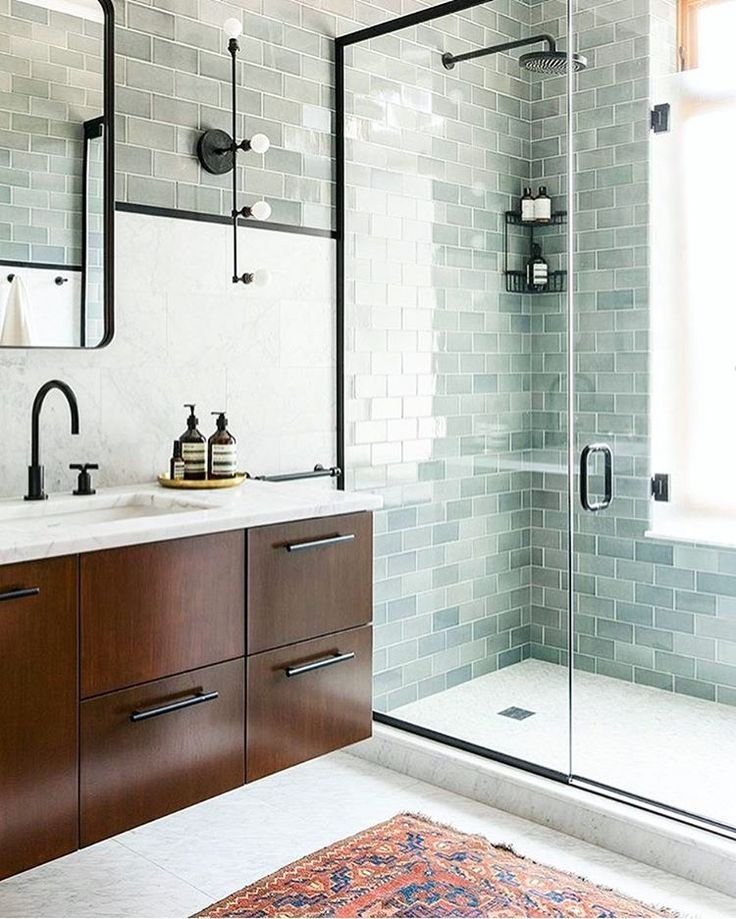 Light Green Grey Subway Tile Bathroom With White Floor And