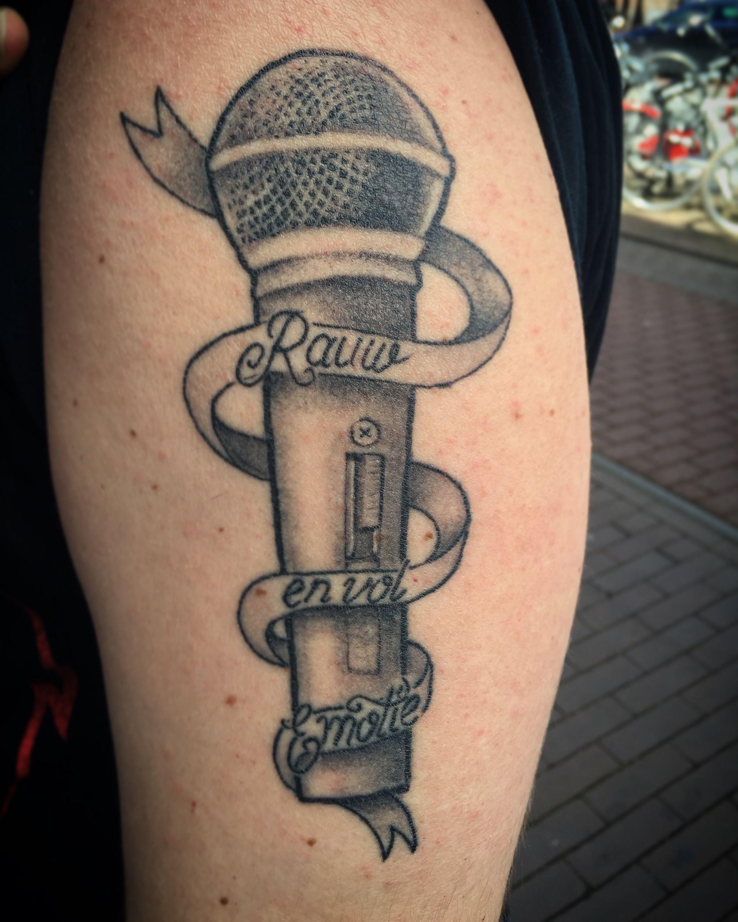Microphone Banner Tattoo Tattooheaven Haarlem