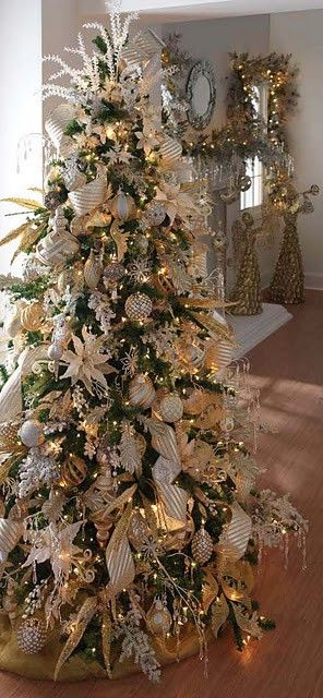 Pretty white, silver, gold themed tree...
