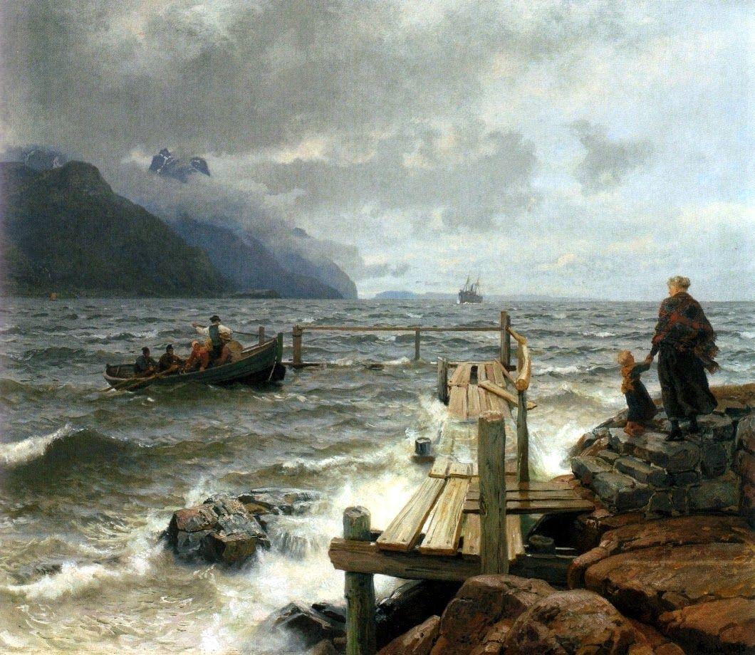 Hans fredrik gude frisk bris ved den norske kyst fresh