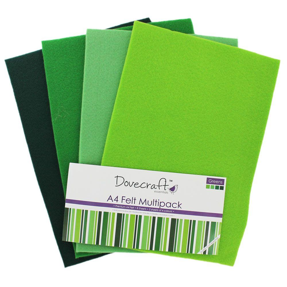 Green A4 Felt Sheets Pack Of 8 Felt Sheets Felt Material Green Sheets