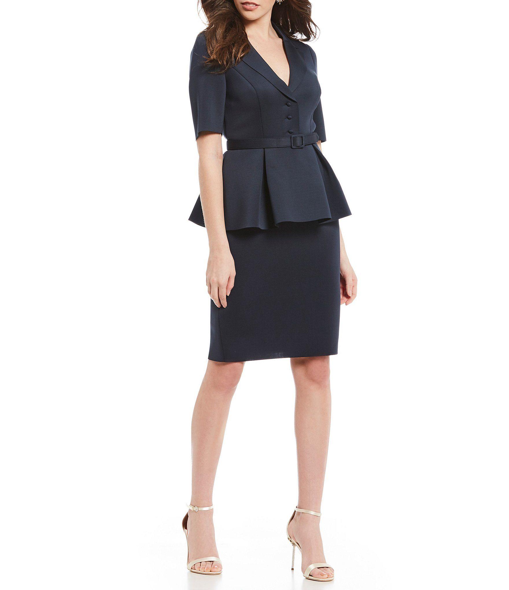 4e0009b468f Shop for Badgley Mischka Peplum Button Front Belted Waist Suit Pencil Dress  at Dillards.com. Visit