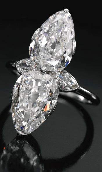 8aaf94183 Diamond ring, Cartier, 1930s set with two pear-shaped diamonds weighing  2.31 and 2.34 carats respectively, further accented with two marquise-shaped  ...