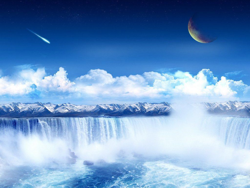 The Waterfall In The Sky Landscape Wallpaper Cool Landscapes Waterfall Wallpaper