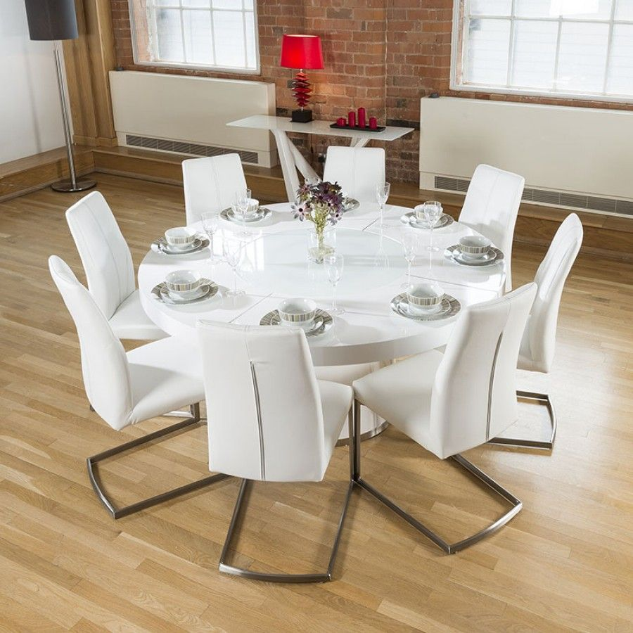 Large Round White Gloss Dining Table Lazy Susan 8 White Chairs 5360 Round Dining Room Sets Round Dining Room Glass Round Dining Table