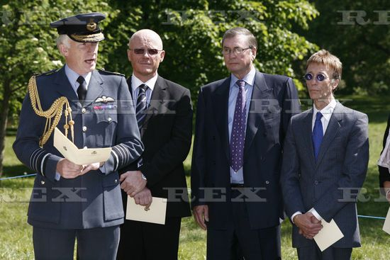 RAF Bomber Command Memorial Foundation Stone Laying Ceremony, London, Britain - 04 May 2011 Air Chief Marshal Sir Stephen Dalton, John Caudwell, Lord Michael Ashcroft and Robin Gibb