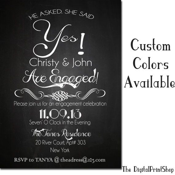 Wedding Engagement Invitation Card Chalkboard Invite Modern he asked