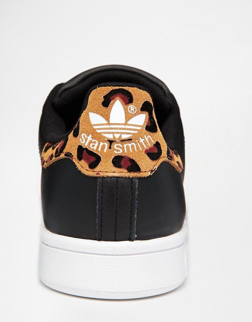 adidas originals stan smith black animal print trainers