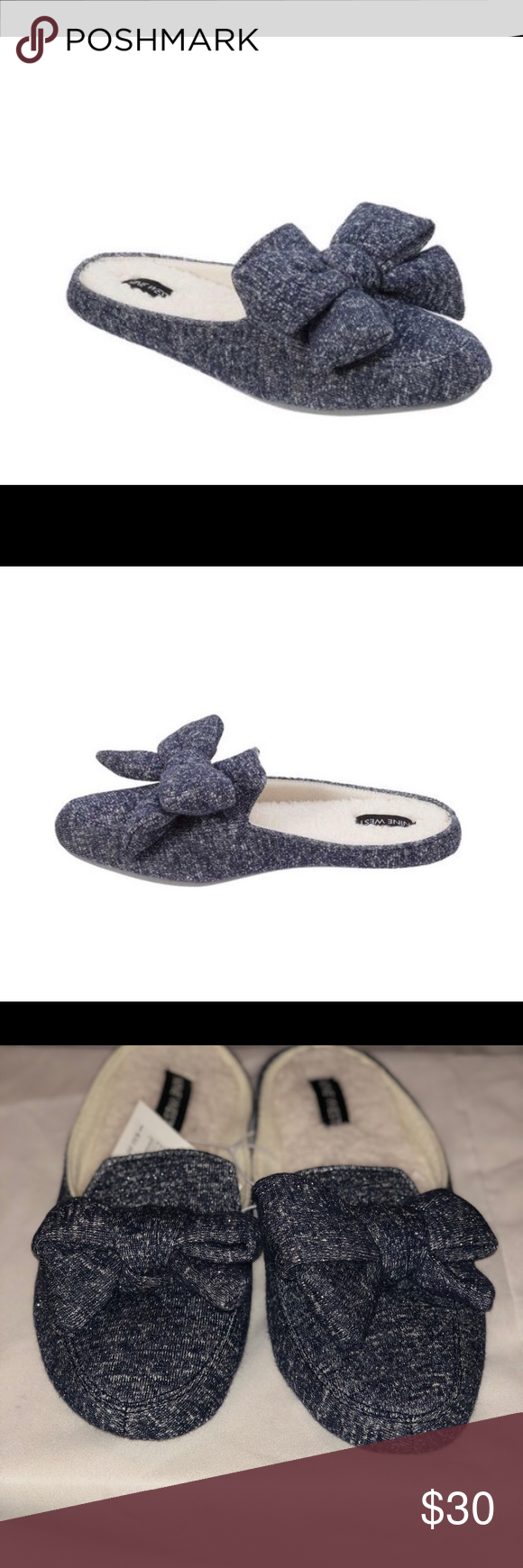 310c7607421 Nine West Loafer Scuff Slipper with Bow Fluffy microfiber terry sock  Oversized bow detail Multi-density cushioned insole with memory foam 85%  Cotton