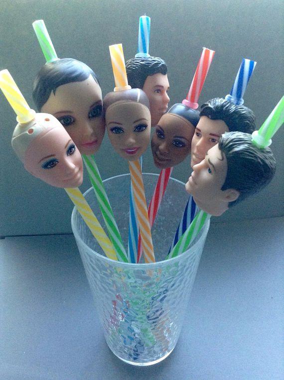 Doll Head Straws, choose style, rubber, plastic, d