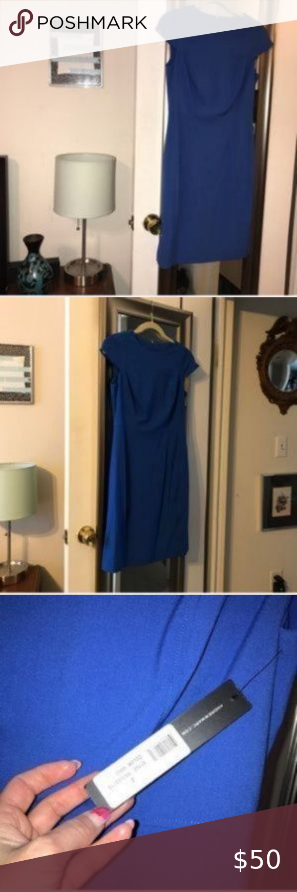 Marc Ny Andrew Marc Blue Cap Sleeve Dress Size 2 Marc Ny Andrew Marc Blue Cap Sleeve Dress Sz 2 Color Royal B In 2020 Capped Sleeve Dress Marc Dress Royal Blue Color