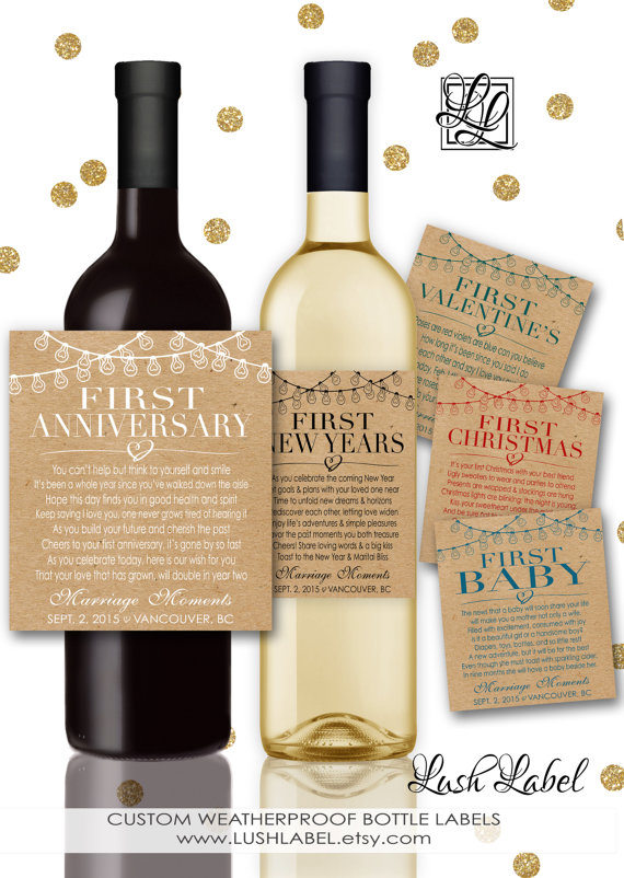 Custom Marriage Milestones Wine Labels Champagne Kraft Paper Rustic Wedding Gift Bridal Shower Poems First Anniversary Item
