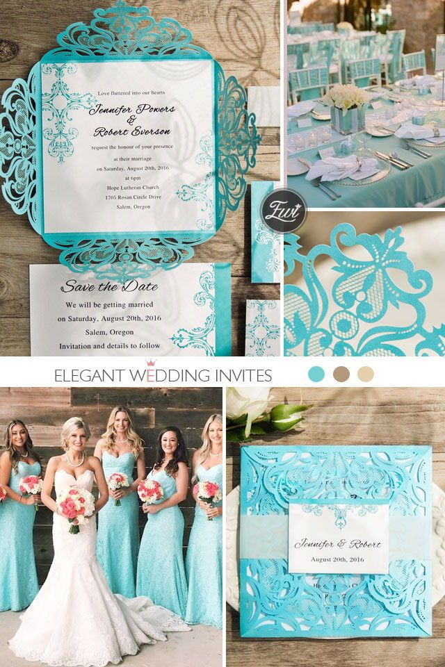 Tiffany Blue Swirl Laser Cut Wedding Invitation Kits EWWS115 In 2019