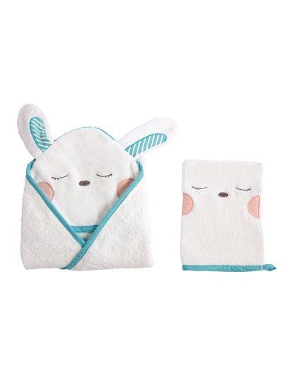 8082091dea07 Cape de bain + gant bébé collection bio TROTTINOU BLANC CASSE ...
