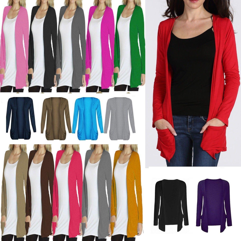 Womens Ladies Long Sleeve Boyfriend Cardigan With Pockets Plus Sizes*Crdg