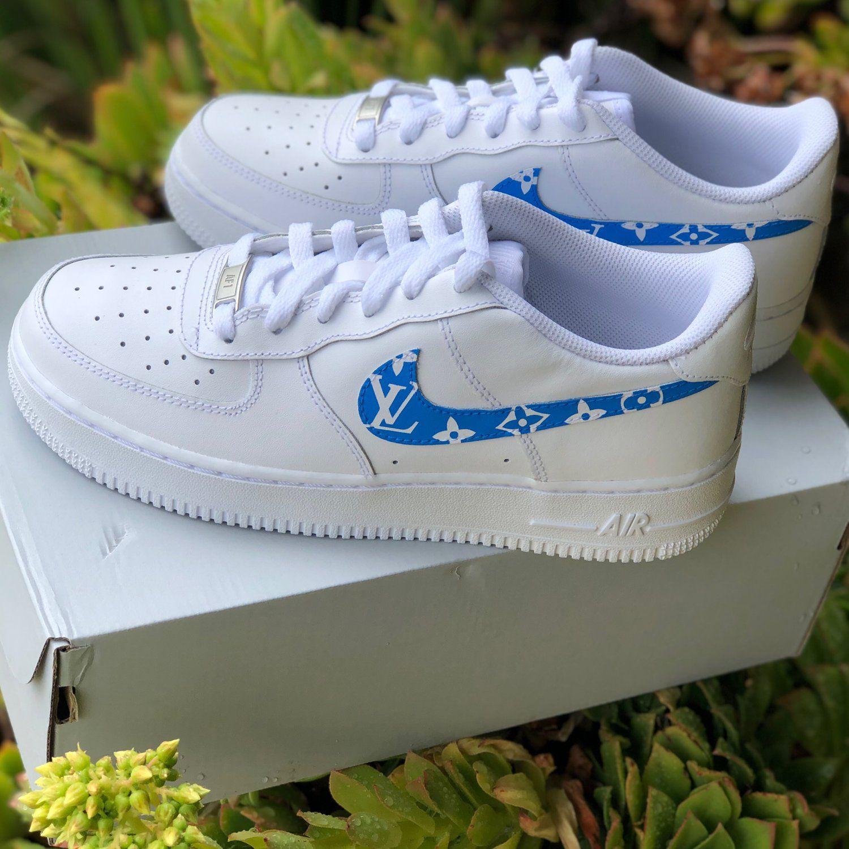 """Air Force 1 """"Light Blue Supreme Louis Vuitton"""" Customs"""