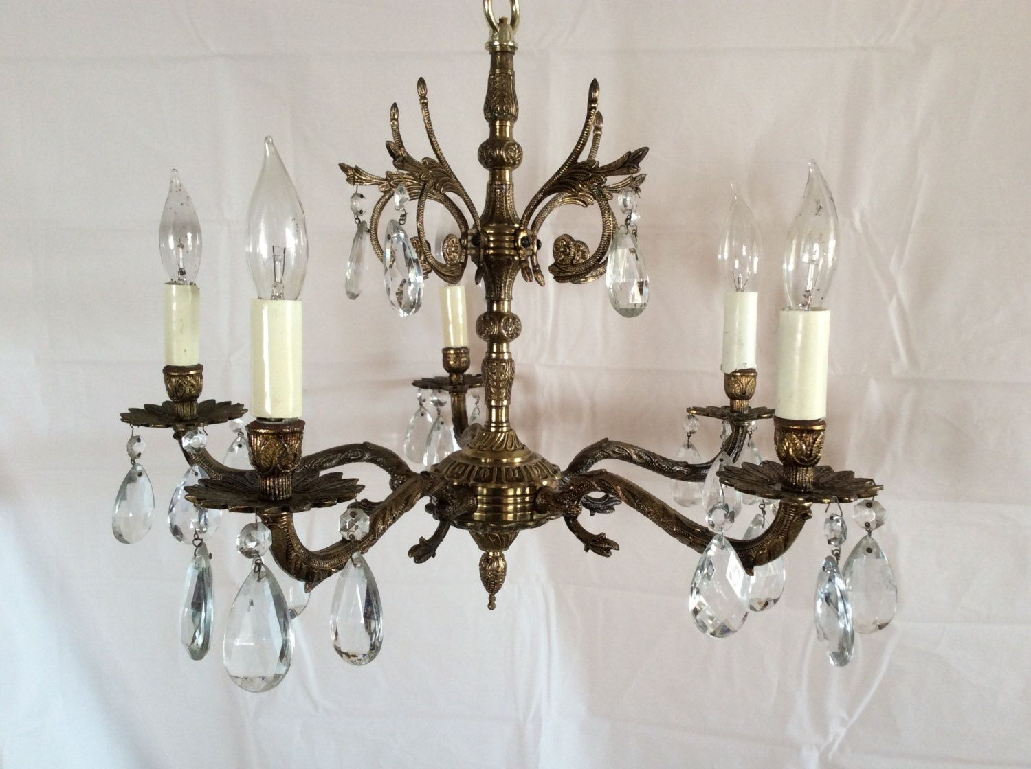 Antique Vintage Brass Crystal Chandelier Made in Spain 1930s - Antique Vintage Brass Crystal Chandelier Made In Spain 1930s Old