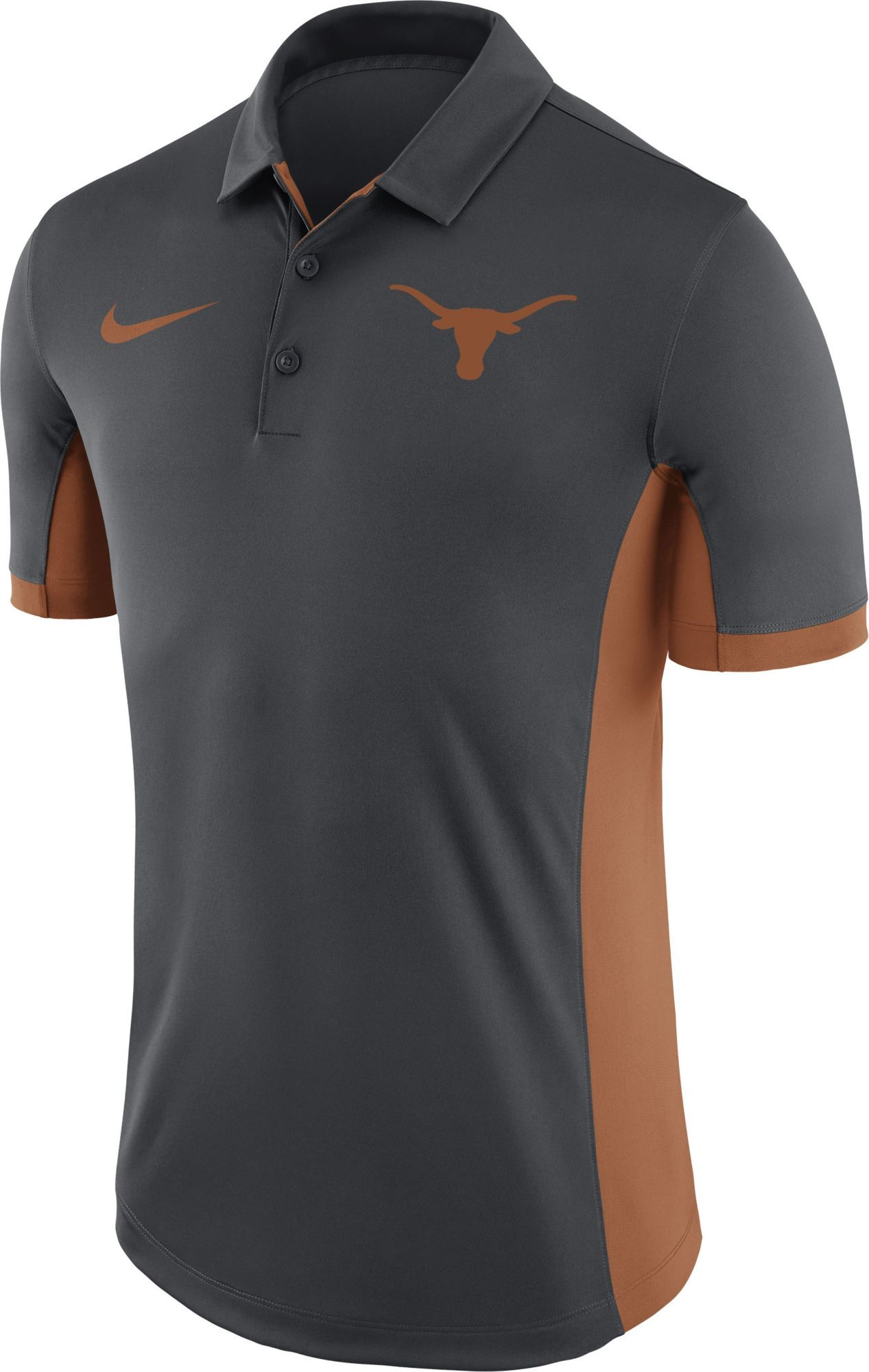 fa5c5ba4 Nike Men's Texas Longhorns Anthracite Evergreen Performance Polo, Size:  Large, Team Arkansas Razorbacks