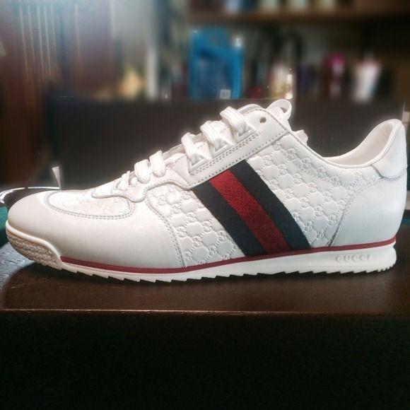 44a563f5ac9b NIB Mens Sz 8(US Sz 9)Gucci White w stripe Sneaker Brand