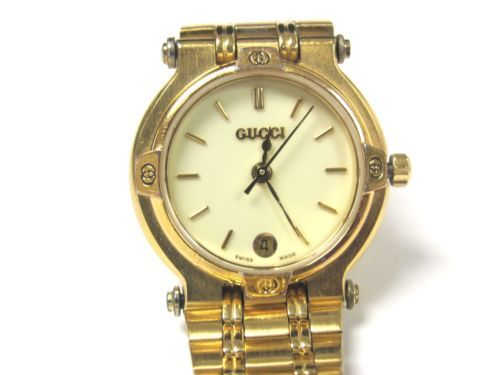 gucci 9200l. womens gucci 9200l gold tone stainless steel dial date watch works! gucci 9200l