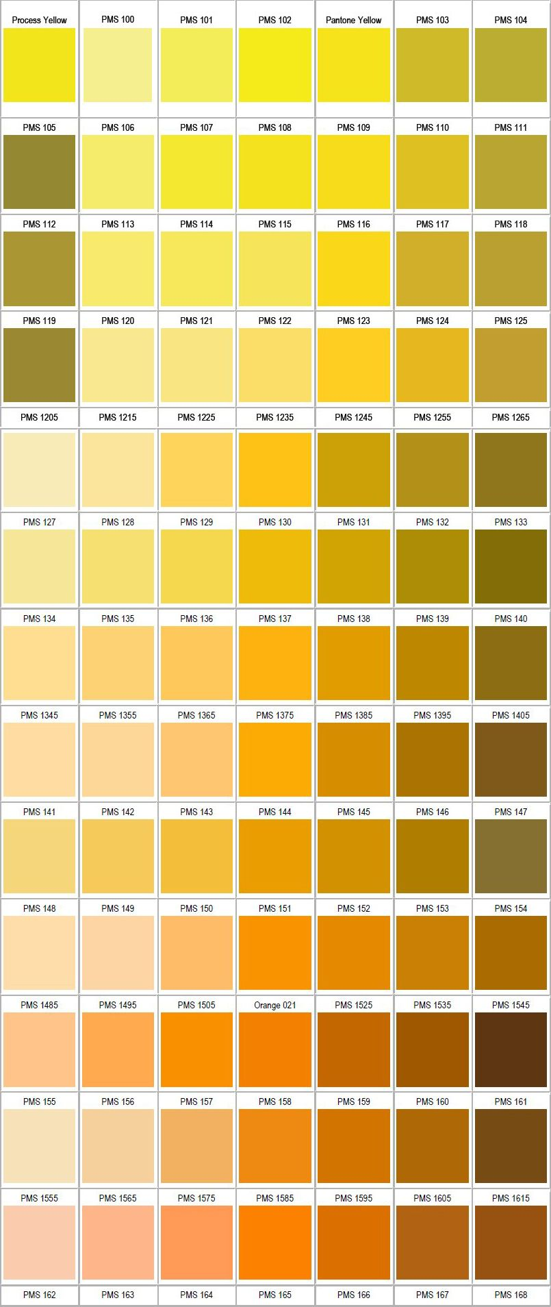 So many gorgeous shades of PANTONE yellow.