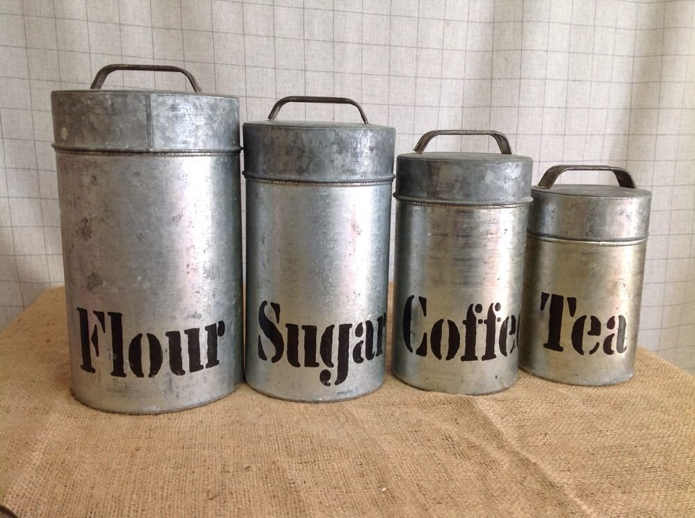 fascinating Retro Metal Canisters Part - 8: Vintage Vandor Imports Galvanized Metal Retro Industrial Kitchen Canister  Set