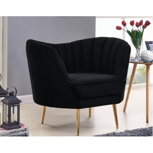 Black Velvet Channel Tufted Chair Gold Legs Black Velvet Chair