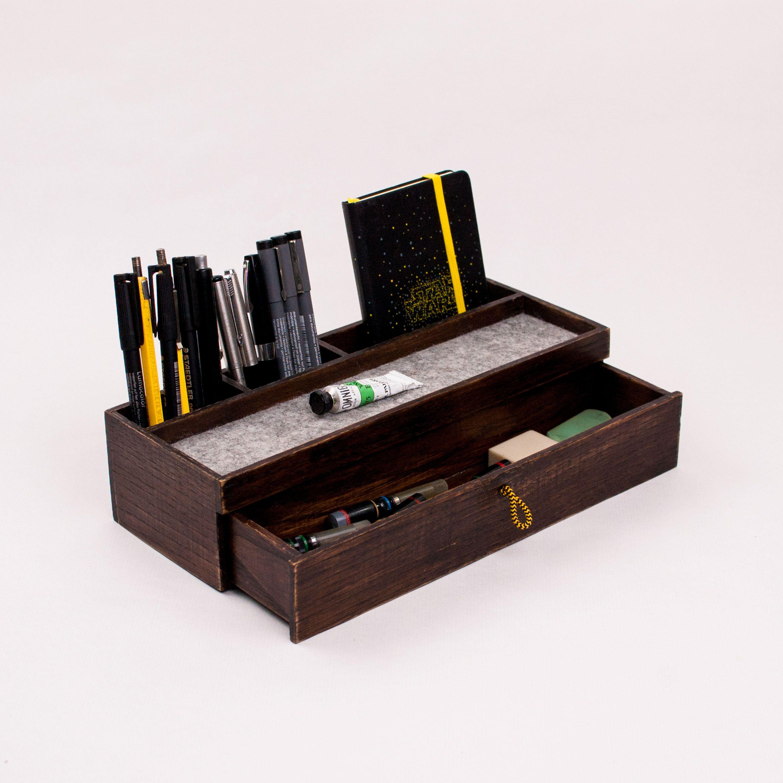 Elegant Rustic Wood Desk Organizer With Drawer Desk Organization Desk Organization Office Rustic Wooden Desk