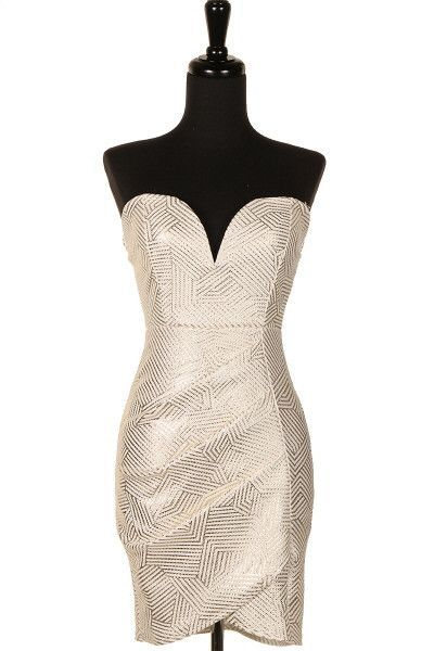 Heart Neckline Metallic Dress