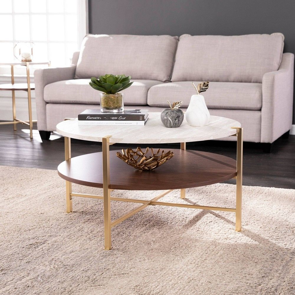 Amelia Round Faux Marble Cocktail Table Brass Aiden Lane In 2021 Stone Coffee Table Coffee Table Marble Cocktail Table [ 1000 x 1000 Pixel ]