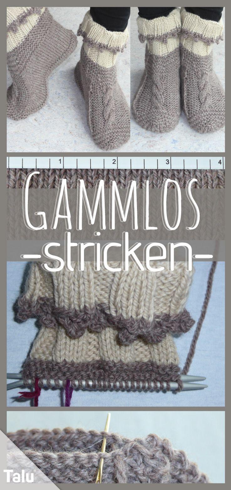 Gammlos stricken: kostenlose Anleitung für bequeme Hüttenschuhe #strickenundhäkeln